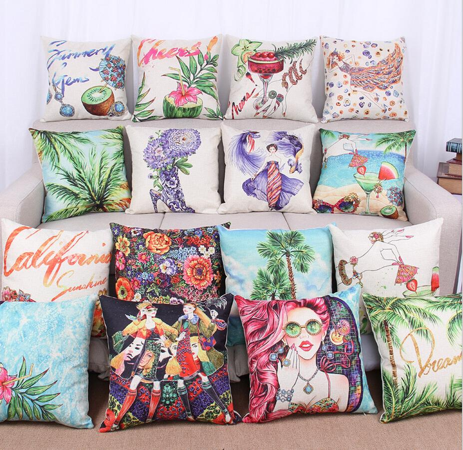 Superieur Color Printed Pillow Cases Sofa Ethnic Cushion Covers 45*45CM Vintage Cushion  Cover Oil Painting