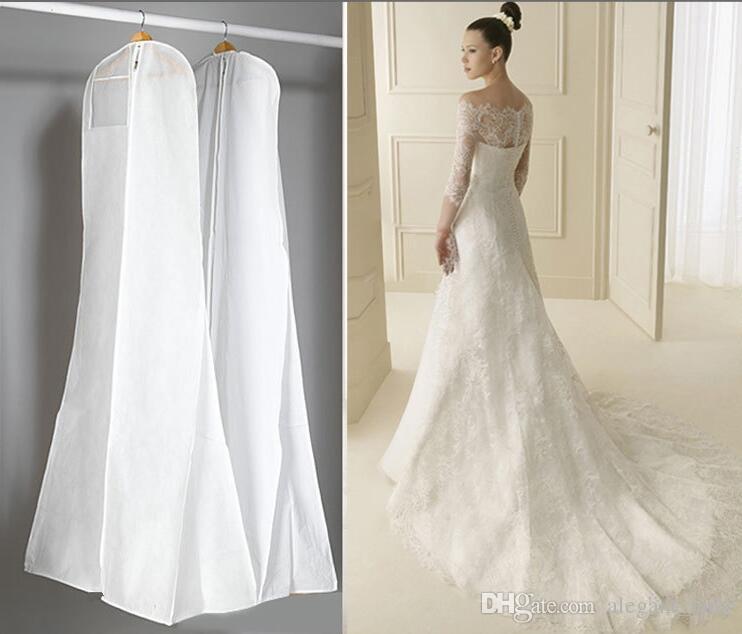 Große 180 cm Hochzeitskleid Kleid Taschen Hohe Qualität Weiß Staubbeutel Lange Kleidungsstück Abdeckung Reisespeicher Staubschutz Heißer Verkauf