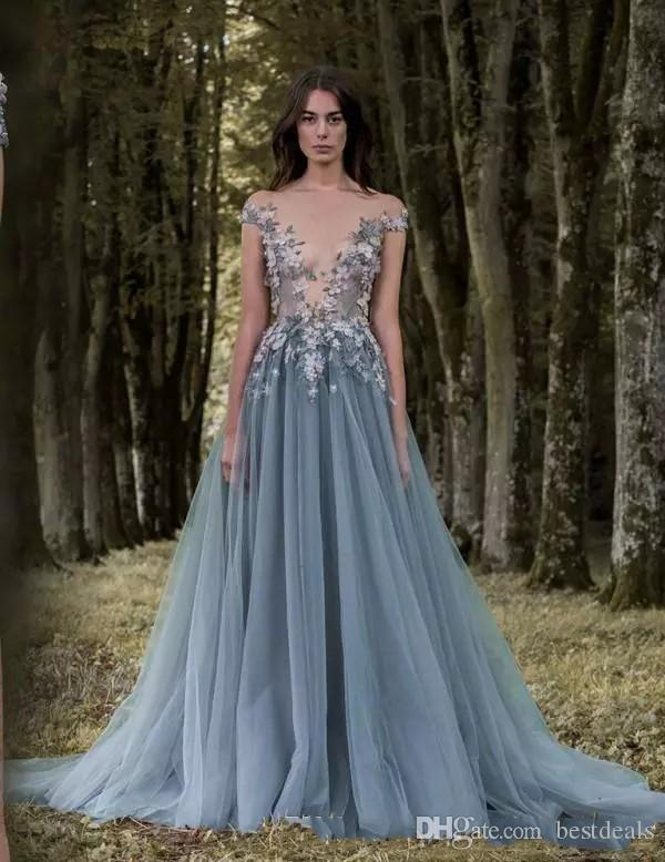 2018 Paolo Sebastian Prom Dresses Lace Applique Flowers Beads Sheer Illusion Bodice Cap Sleeves Tulle Party Evening Gown Wear Wemen