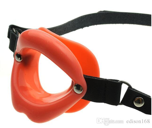 2017 Latest Strap on Real Leather Rubber O Form Lip Open Mouth Gags Oral Fetish Bondage Ring Adult Bdsm Product Erotic Sex Toy
