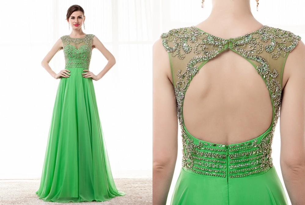 Vestidos de fiesta en color verde manzana