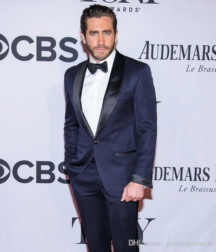Grooms Tuxedos Blue Celebrity Mens Suits For Wedding Black Satin ...