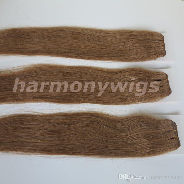 Spitzenqualität 100% Menschenhaareinschlagfäden 100g 20inch # 14 / dunkle goldene blonde gerade Haarbündel verwickeln freie brasilianische indische Haarverlängerungen