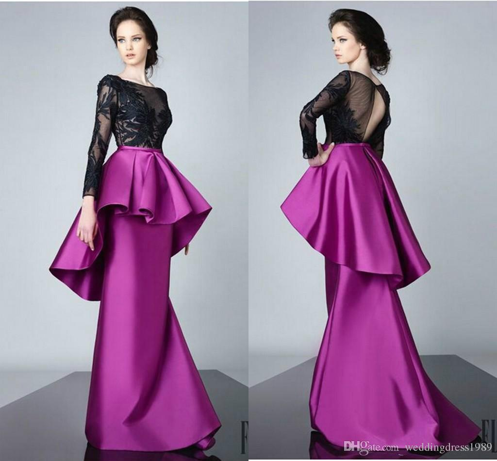 Fashion Peplum Mother Formal Wear Long Sleeve Evening Dress Sheer ...