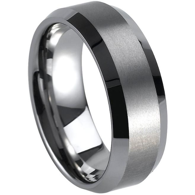 Size 7-15 Tungsten Carbide Ring Brushed Band Wedding Men Graduation School Cocktail Engagement