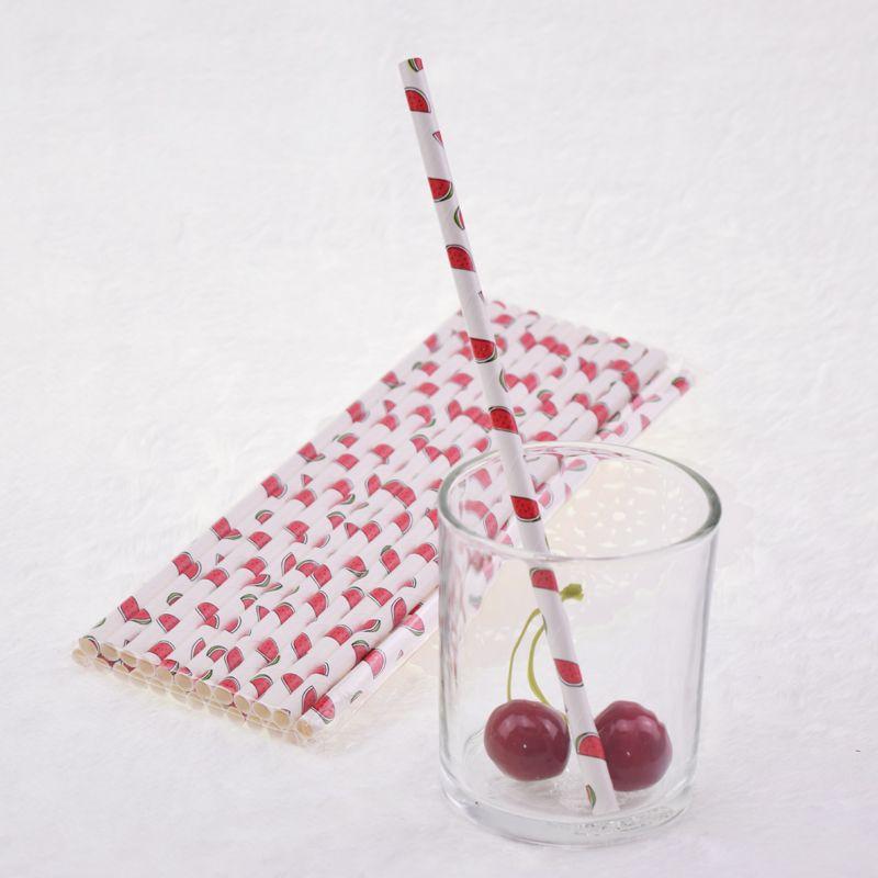 Eco-friendly Watermelon Paper Straws for Kids Birthday Wedding Decorative Party Straws Event Supplies Drinking Straw Xmas Gift New