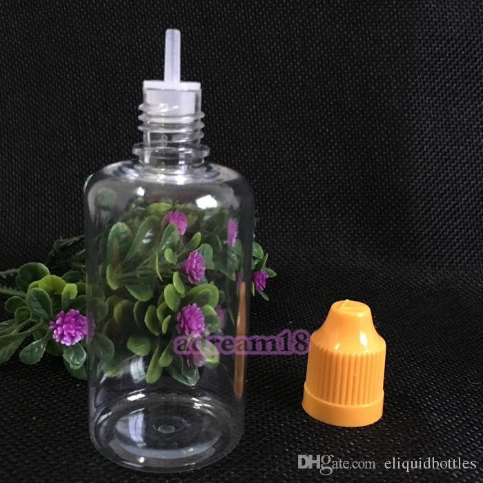 2018 venta más caliente botellas transparentes 50ml botellas cuentagotas eLiquid gotas para los ojos, botellas de plástico de alta calidad 50ml con el casquillo a prueba de niños colorido