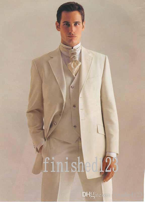 New Arrivals Three Button Ivory Groom Tuxedos Notch Lapel Groomsmen Best Man Wedding Prom Dinner Suits Jacket+Pants+Vest+Tie G5012