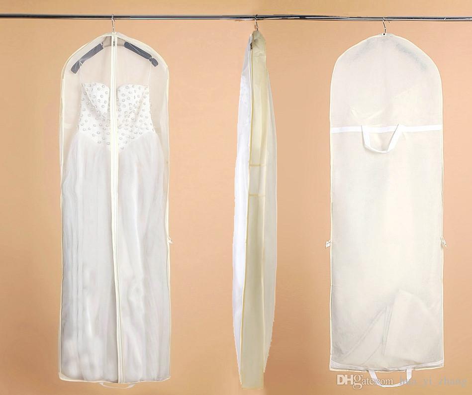 Najlepsza jakość Big Ivory Bridal Suknie Ślubne Szata Odzież Dust Torby Jakości Tkaniny włóknistej 180cm * 60 * 15 cm Z Logo Drukuj Usługa Jeśli Big Ilość