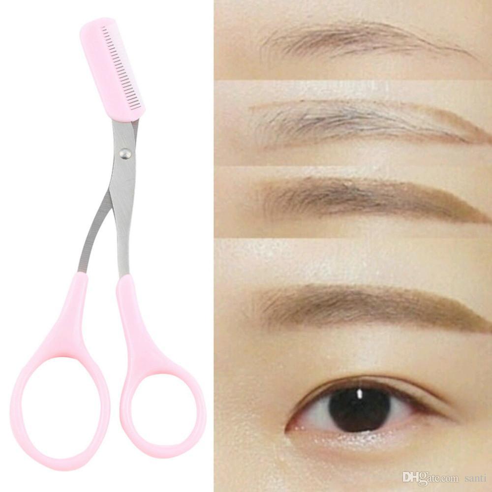 Lady Lady ceja recortadora de pestañas Tijeras de adelgazamiento Peine Pestañas Pinzas para el cabello Tijeras Shaping Shape Grooming Cosmetic Tool Pink