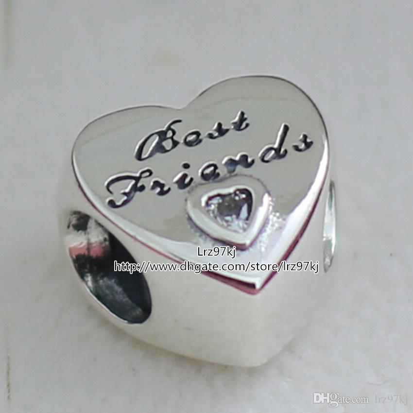 2015 neue 925 Sterling Silber Freundschaft Herz Charm Anhänger Perle mit klaren Cz passt europäischen Schmuck Armbänder Halskette