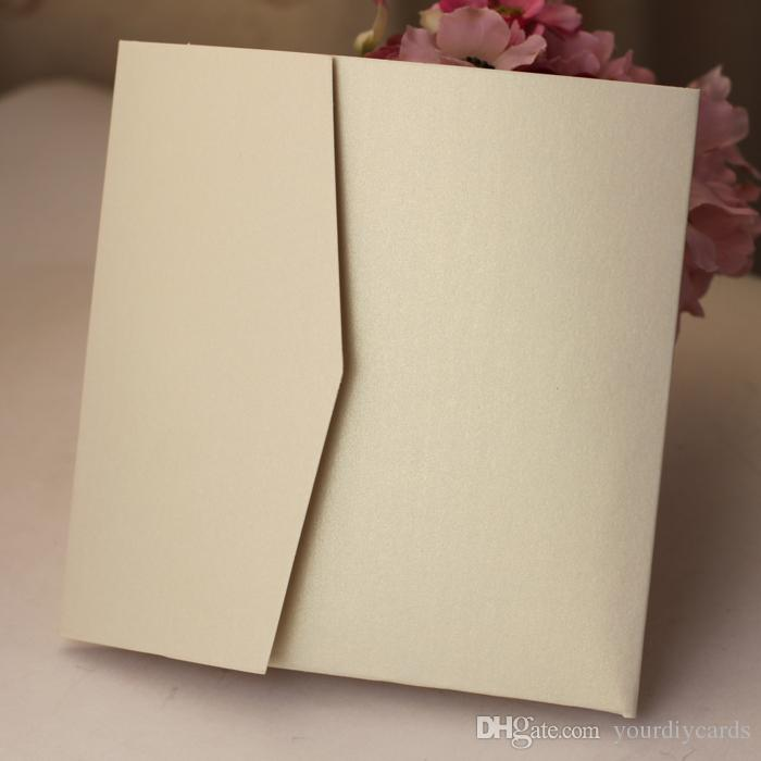 Wholesale Blank Square Custom Color Pocketfold Wedding Invitation