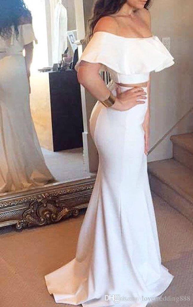 Saudi Arabisch Weiß Satin Zwei Stücke Abendkleider 2018 Günstigstes Weg Von Schulter Damen Lange Partei Formale Kleid Meerjungfrau Billig
