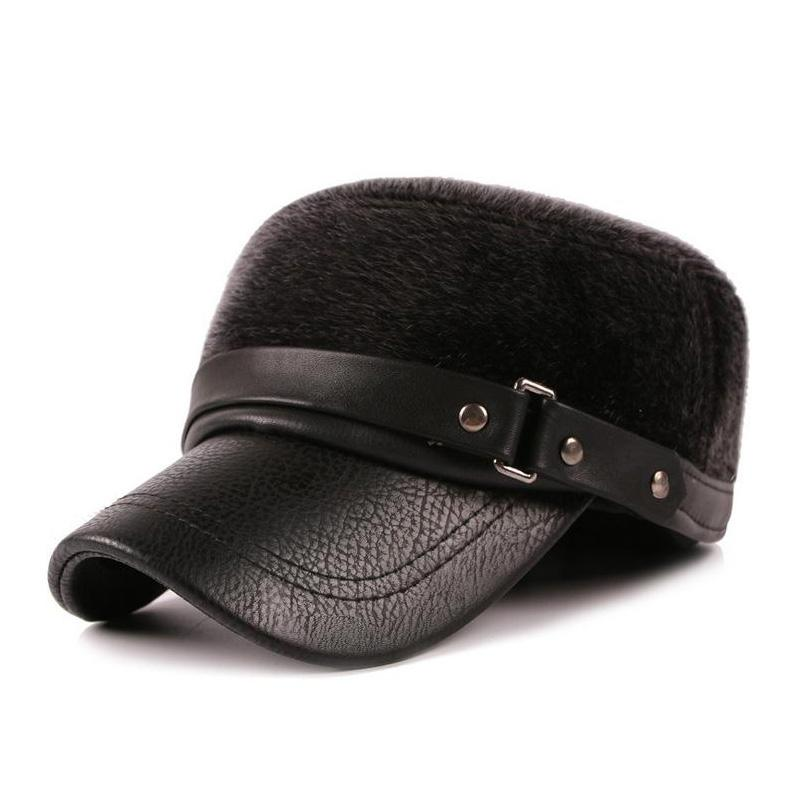 ea0fc4c9046 Men s Winter Fur Flat Hats with Ears Warm Baseball Cap Z-1913 High ...