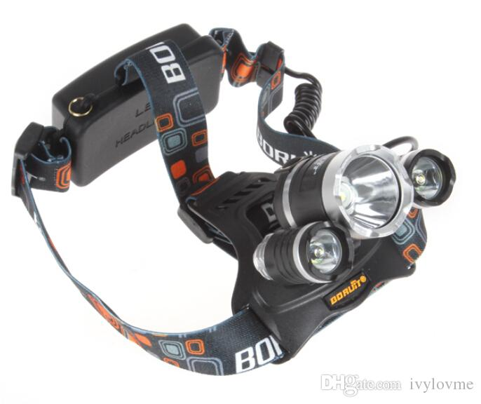 hot sale 5000Lm CREE XML T6+2R5 LED Headlight Headlamp Head Lamp Light 4-mode torch +EU/US charger for fishing Lights