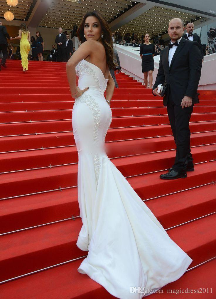 2019 Sexy Eva Longoria In Red Carpet Celebrity Dresses Mermaid Sweetheart Backless Sweep Train Cannes Evening Gown Formal Prom Pageant Dress
