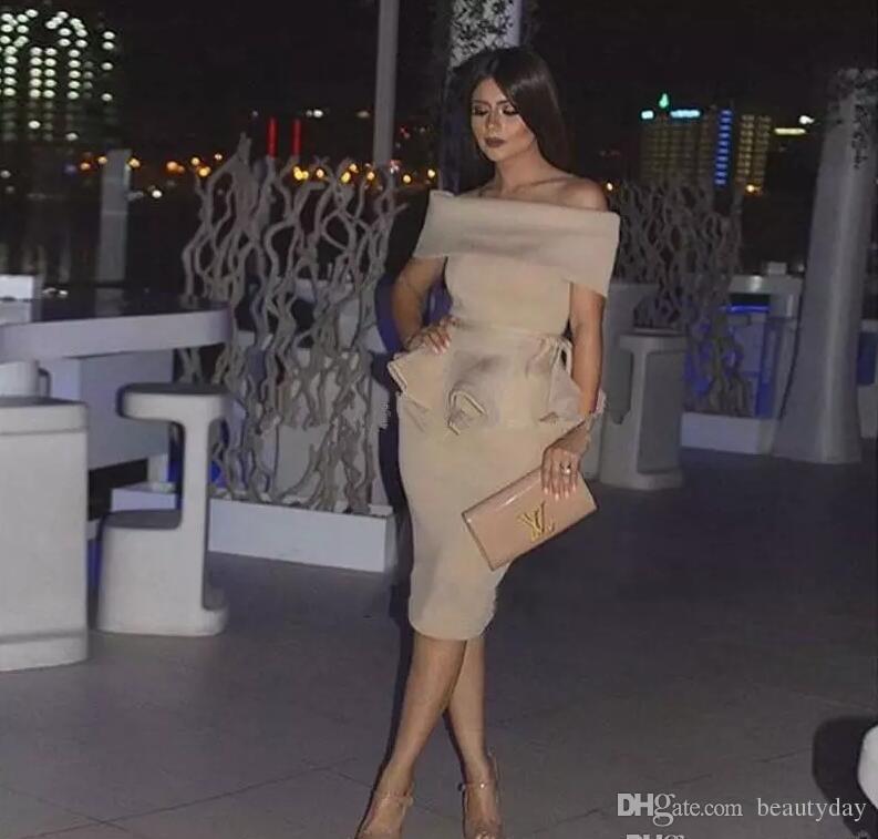 3a3eb10d57c Champagne Elastic Satin Formal Evening Dresses Wear Party Prom Gowns Yousef  Aljasmi Labourjoisie Celebrity Off Shoulder Arabic Sheath Evening Dress  Cheap ...