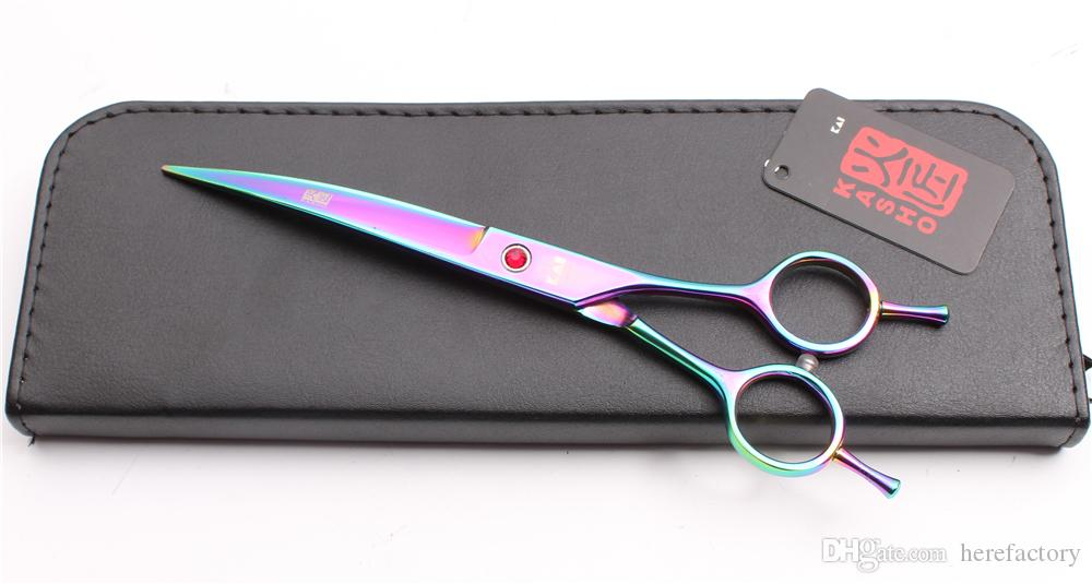 """H4002 7"""" JP Steel Kasho Brand Professional Pets Hair Scissors Dog Flur Clipping Shear Down Curved Cutting Shears Scissors for Dog Grooming"""