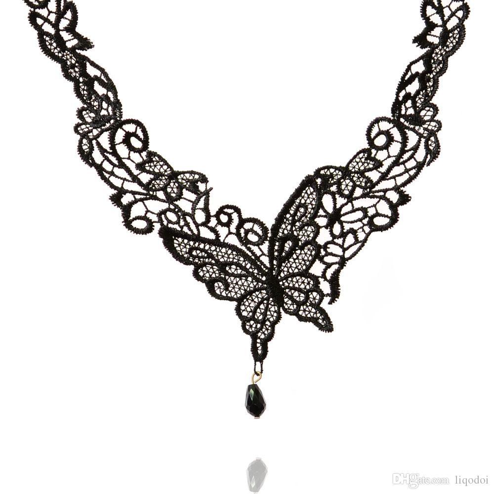 Mode Vrouwen Vintage Handgemaakte Retro Gothic Black Lace Legering Vlinder Choker Ketting Victoriaanse Kant Korte Ketting