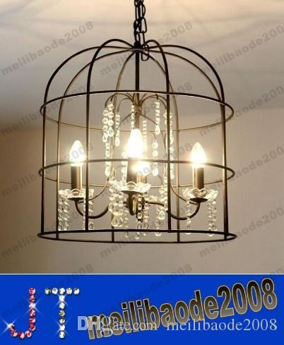 wrought iron dining area light discount american pastoral creative wrought iron bird cage crystal