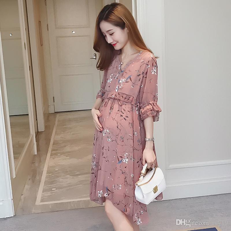 bce492f86 Compre 2018 Nuevo Estilo Primavera Verano Maternidad Vestido De Mujer  Embarazada Con Falda Larga De Manga Corta De Gasa De Encaje A  20.11 Del  Ivy19 ...