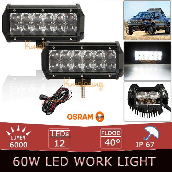 2x 60w osram led light bar 7 inch flood spot offroad light bar 12v 2x 60w osram led light bar 7 inch flood spot offroad light bar 12v 24v led work light wire relay off road led bar suv 4x4 4wd led clamp work light mozeypictures Images