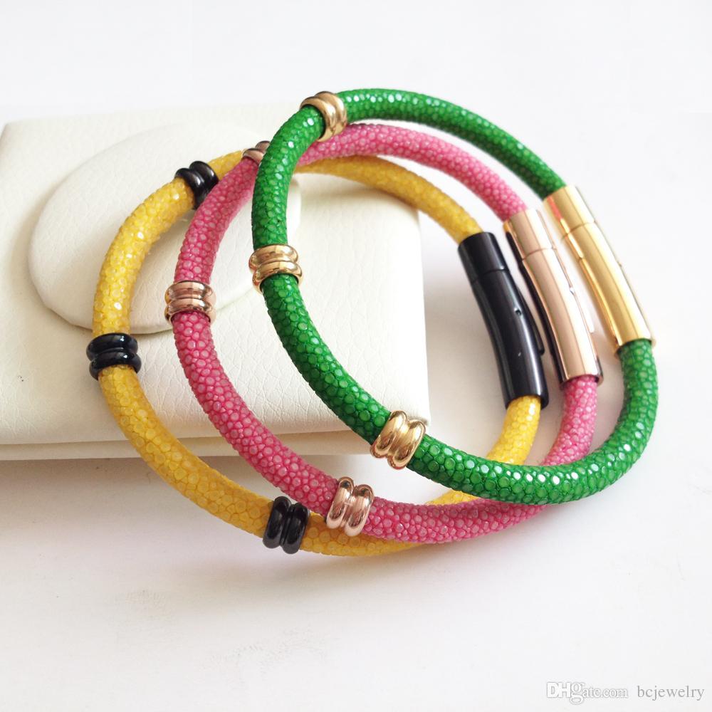 BC cuero genuino Tailandia Stingray pulseras de acero inoxidable reloj de los hombres de la correa de accesorios de cuero de lujo del brazalete del brazalete