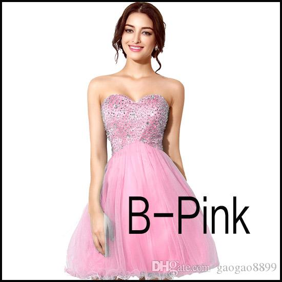 2019 a buon mercato In magazzino Rosa Tulle Mini Crystal Abiti Homecoming Perline Lilla Sky Royal Blue Mint Breve Prom Party Gowns economici Immagine reale