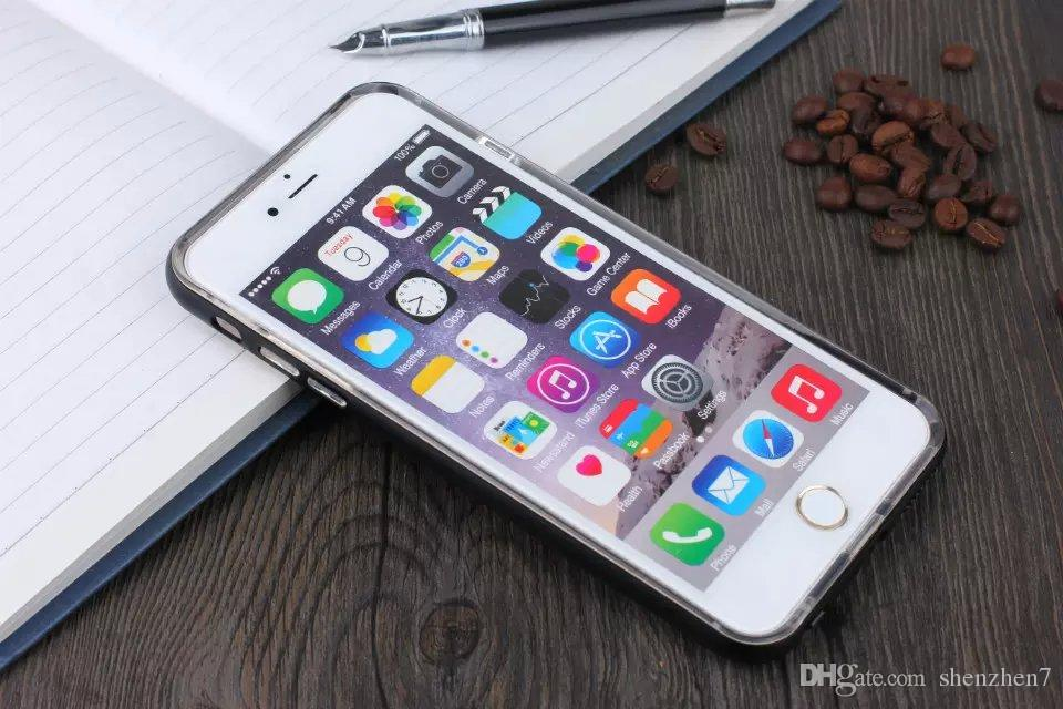 Hybrid Metal CASE Aluminium Frame Bumper Bumpers Soft Clear Transparent Crystal TPU Cover Cases For Iphone 6 6Plus DHL SCA055