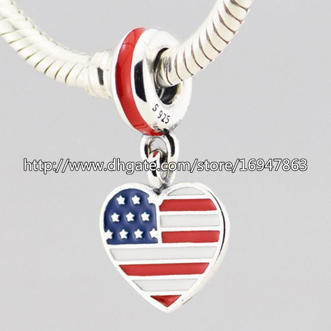 S925 стерлингового серебра США Сердце флаг мотаться очарование шарик с эмалью подходит Европейский Пандора ювелирные изделия браслеты ожерелья кулон