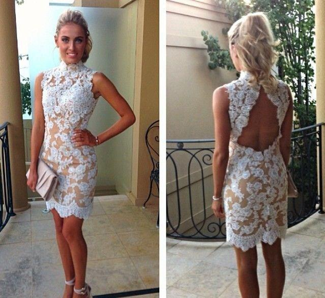 Vintage Lace Cocktail Dresses High Collar White Lace Champagne Lining Short Party Backless Appliques Gowns Summer Fall Custom Made new sale