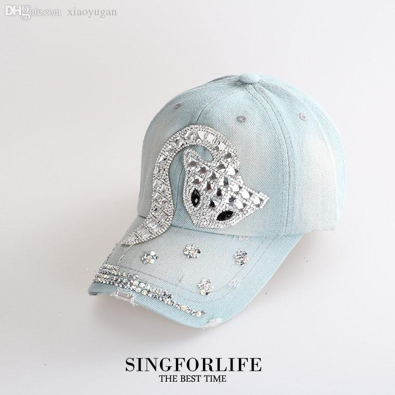 Wholesale Light Blue Fox Denim Bling Bling Cap Rhinestones Hats Baseball  Caps For Women Girl Hip Hop Gorras Visors Adjustable Snapback Hat Cool Hats  Lids ... d8692ea3725