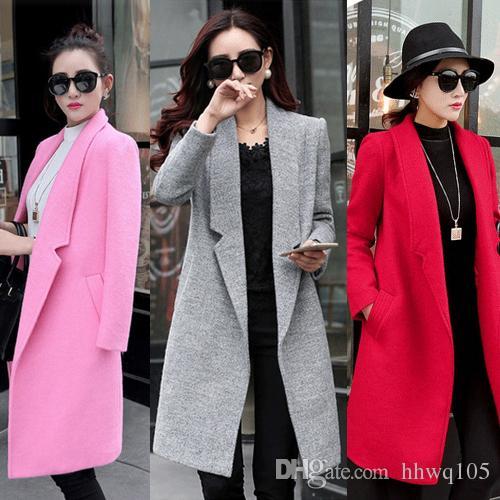 2018 Orange Mgg1112 Rose Mince Nouveau Couleur Long Coat Manteau Dames Vert Hiver De Élégantes Laine Trench Rouge Mélange L3R45Aj