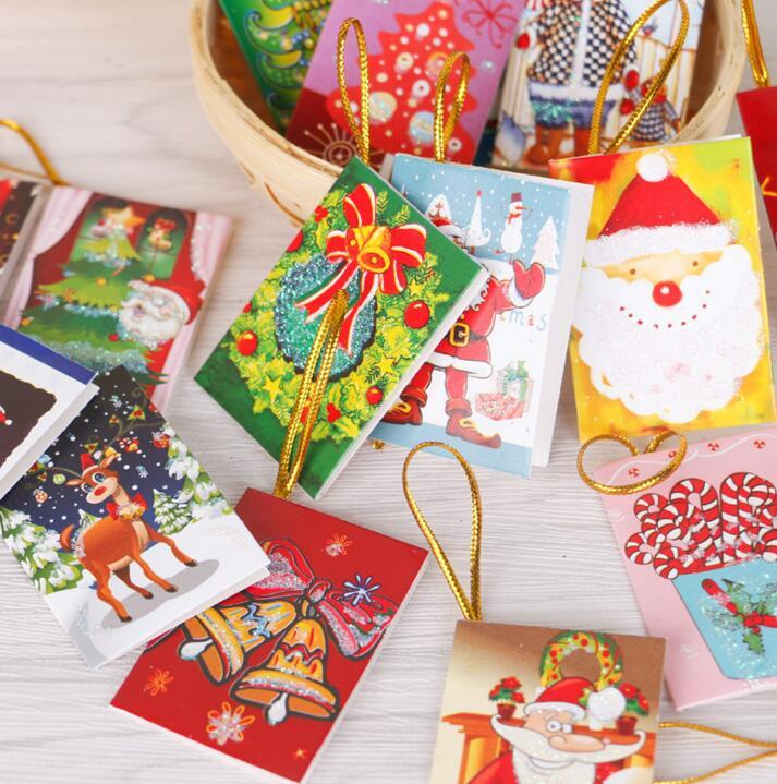 6 5 5 5cm Christmas Tree Hanging Ornaments Cards Xmas Wishing Card