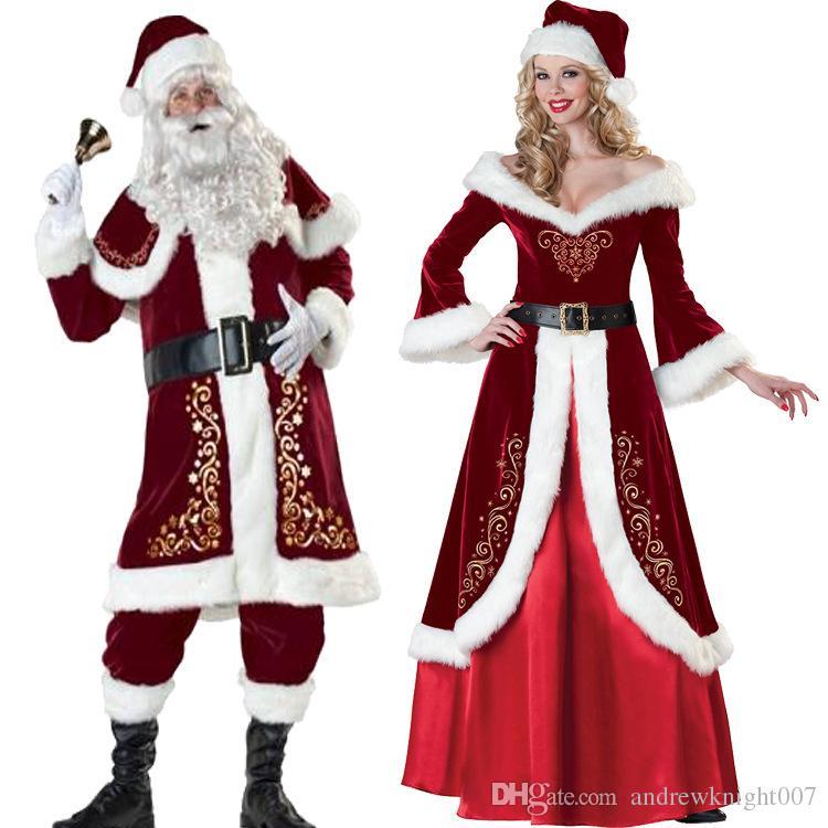 Full uppsättning julkostymer Santa Claus för vuxna Röda julkläder Santa Claus kostym Lyxig enhetlig Xmas kostym för män Kvinnor