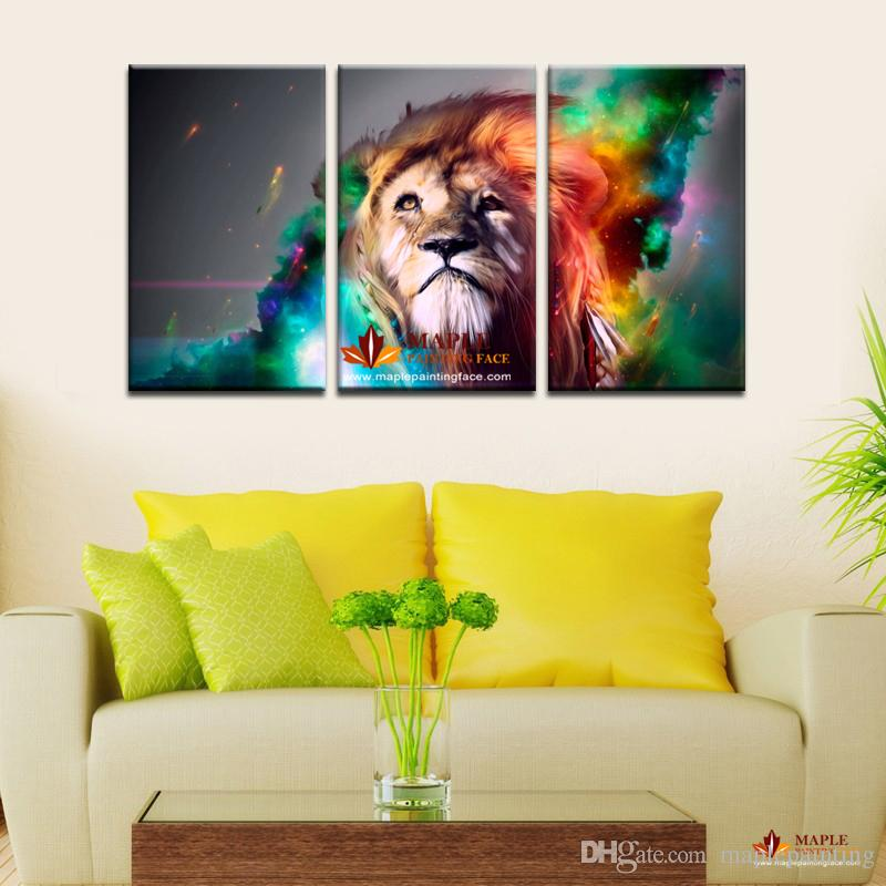 2019 3 Panel Large Canvas Wall Art Modern Abstract Lion Decoration Oil Painting Printed On Canvas Wall Picture For Living Room Paintings For Sale From
