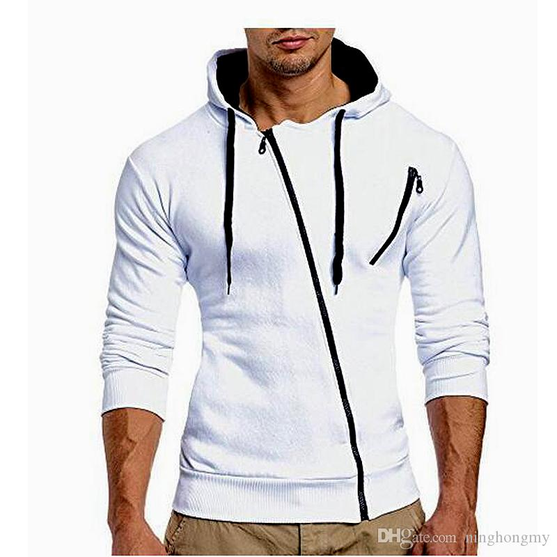 NEW Leisure Men's Hoodie Sweatshirts Rabbit Hair Collar Oblique Zipper plus size Men's Jacket men's Coats men outwear M-XXXL