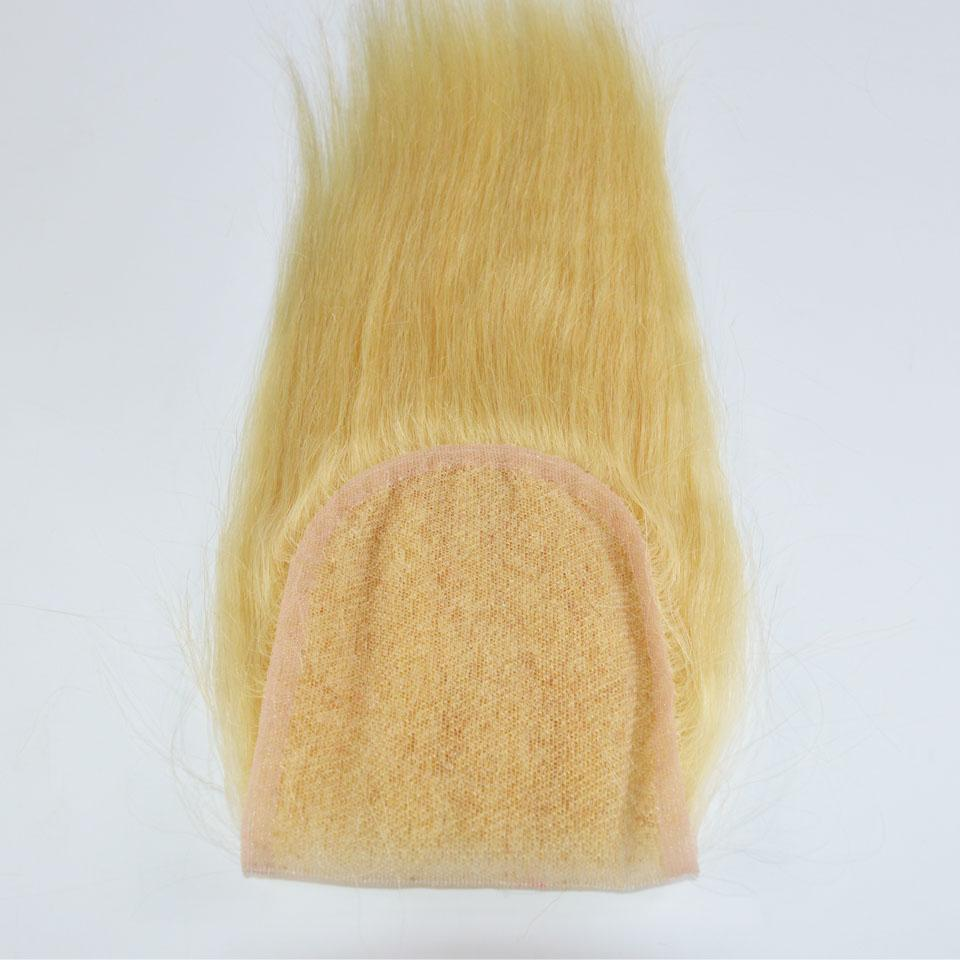 # 613 Bleach Blonde Lace Closure 4 * 4 Zoll Schweizer Spitze Menschen Glattes Haar Verschluss Drei Teil / Mittelteil / Freie Teil