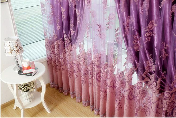 Luksusowe Voile Curtains + Zasłony zaciemniające do salonu Dostosowane Ready Made Window Leęce / Zielone / Fioletowe / Złote