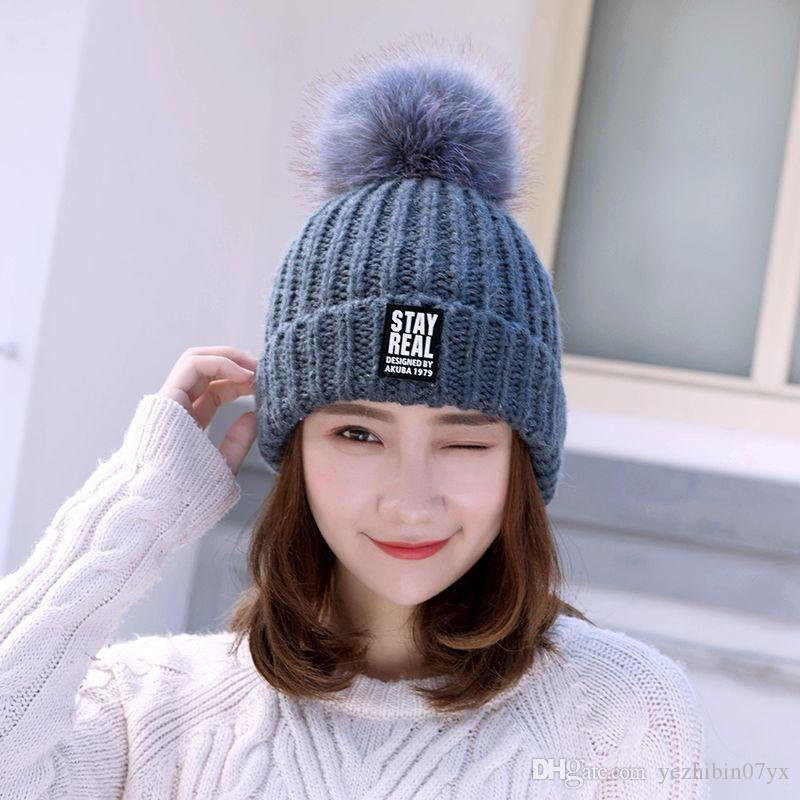 Women Double Deck Knitted Wool Hat Winter Natural Raccoon Fur Warm Caps  Female Pom Pom Hats Ladies Fashion Skullies Beanies Cap Beanies Bom Beanies  Winter ... fc8eb74a85a