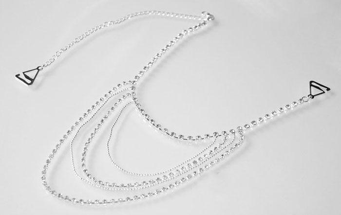 Sparkly Wedding Bridal Jewelry Women Rhinestone Epaulet Long Full Body Shoulder Chain Crystal Bra Straps Necklace Jewelry Set