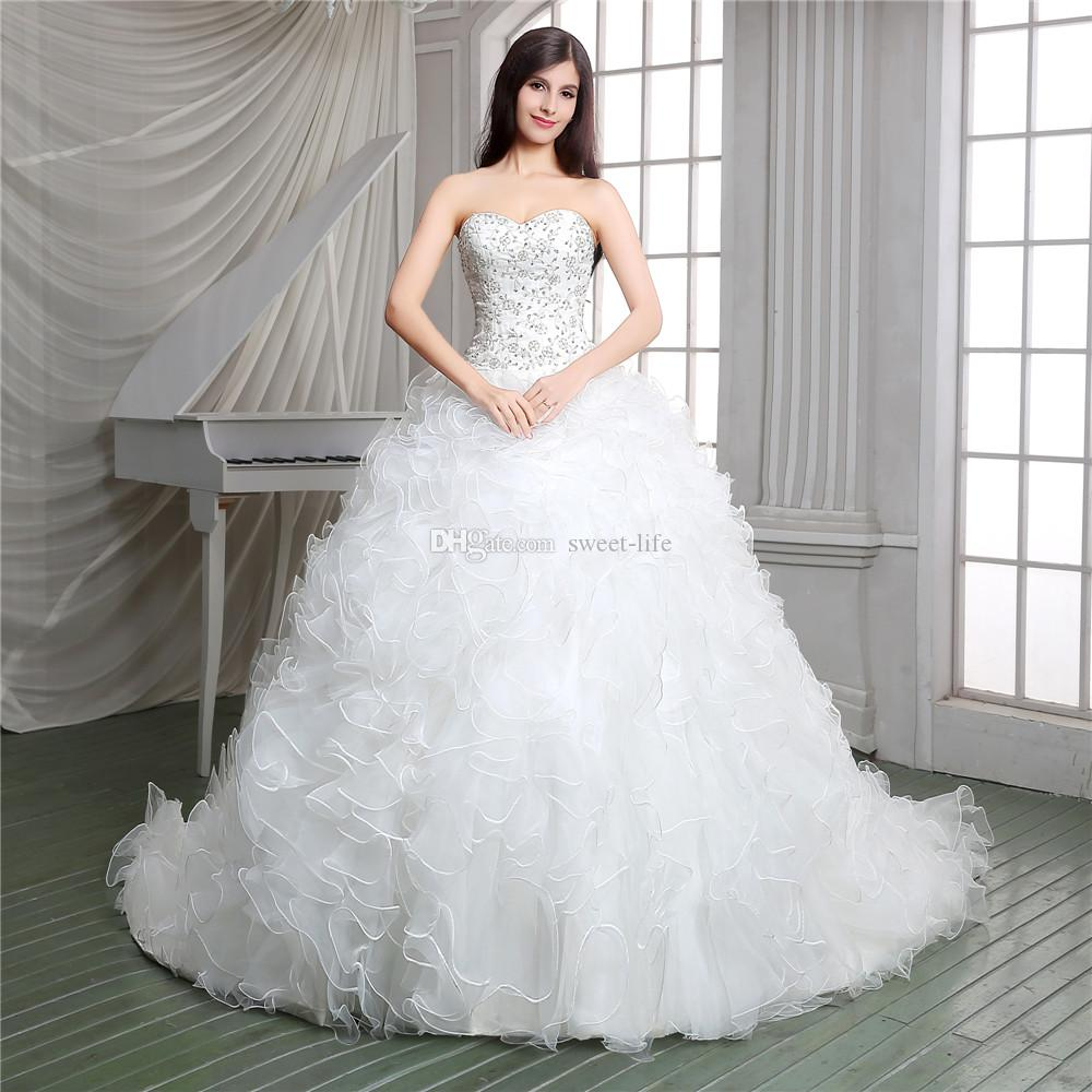Real Pictures 2019 White Ball Gown Church Designer Wedding Dresses Luxury Applique Lace Up Court Train Sheer Bridal Gowns Sweetheart Ruffled