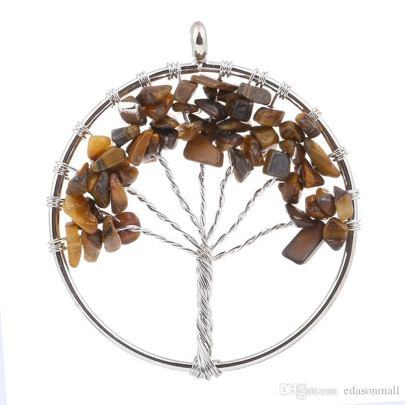 Popular Accessory Quartz Metal Pendant Keyring Tree of Life DIY For Necklace Vintage Jewelry Round Pendant Birthday Gift D88S