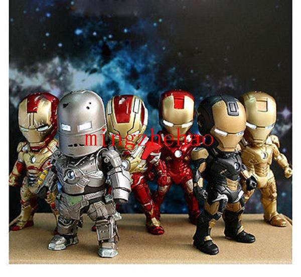 free shippijng new sale Set 6 Iron Man Mark MK42 Eye Light Action Figure Figurine Toy Doll New In Box