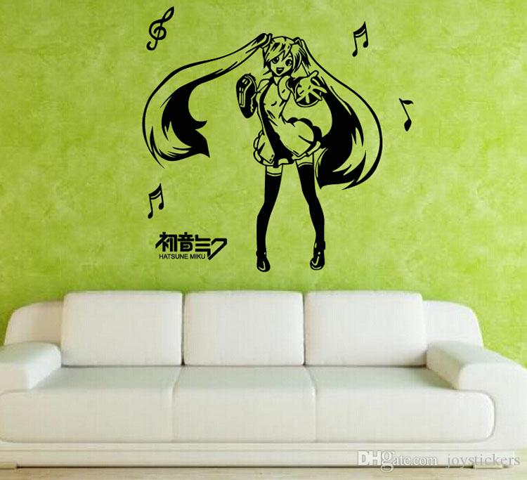 Anime Cartoon Musical Note Hatsune Miku Playing Music Singing And Dancing Sketch Cool Propile Wall Sticker Decal Home Decor For Anime Fans