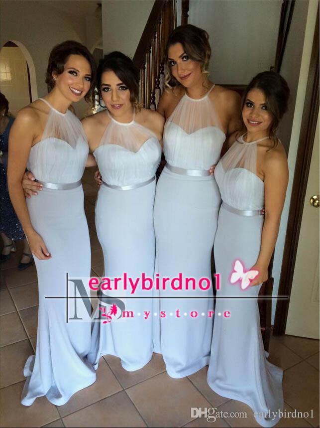 2015 새로운 도착 들러리 드레스 홀터 얇은 Tulle 리본 새시 봄 웨딩 드레스 라이트 스카이 블루 머메이드 웨딩 파티 이브닝 가운