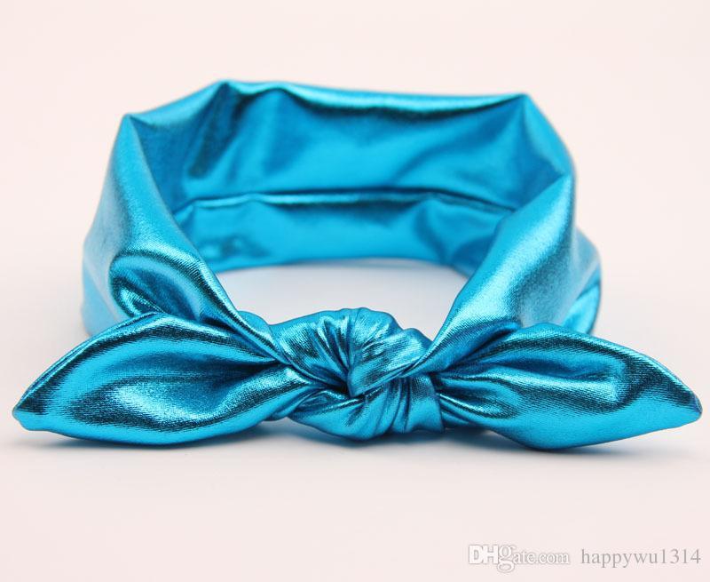 Baby Kids Headband Gold Rabbit Ear Headbands for Girls Children Hair Accessories Blend Fabric Bow Knot Elastic Hair Band Christmas Headdress