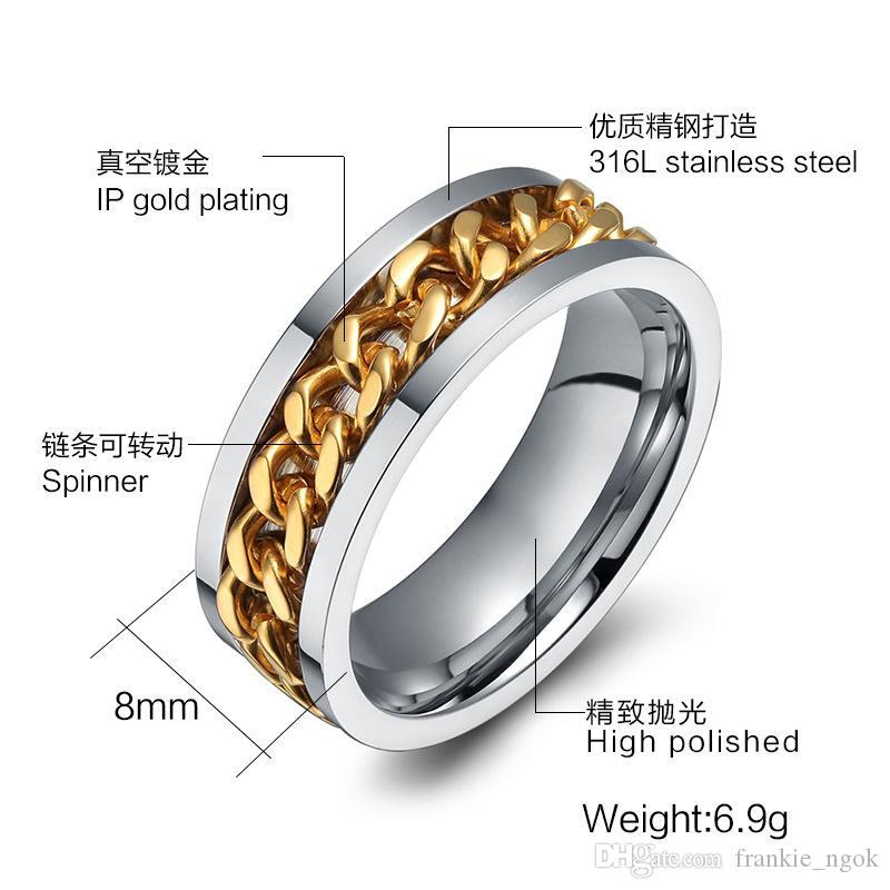 316L 스테인레스 스틸 IP 금 도금 높은 광택 남성 패션 링 실버 / 골드 8mm 크기 6-15