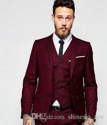 Yeni Yakışıklı Damat Suit Üç Adet Ceket + Yelek + Pantolon Düğün Konuk Seti Erkekler Smokin Kruvaze Custom Made