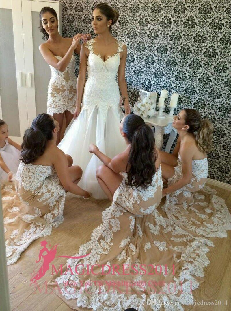 Garden Sweety Charming A Line Sweetheart Backless Sleeveless Hi-Lo Lace Applique Ladies formal tuxedo 2019 Custom Made